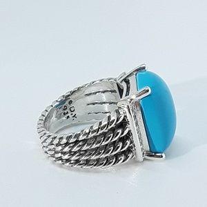 David Yurman Jewelry - DAVID YURMAN LARGE TURQUOISE WHEATON RING